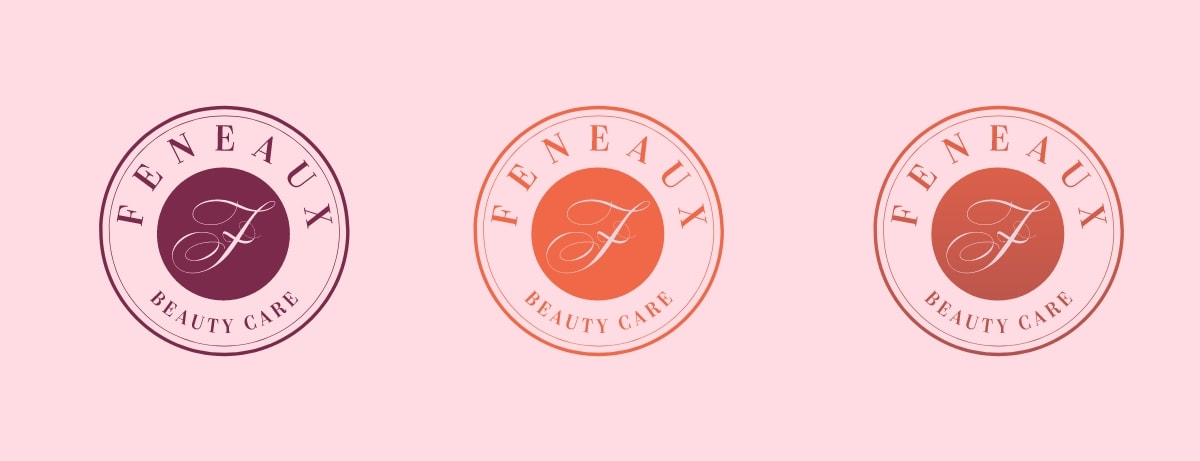 feneaux logo on pink background horizontal layout
